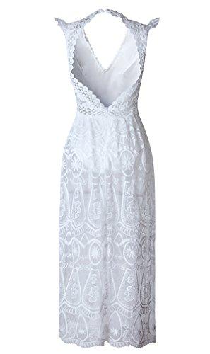 Elegant damen Spitze Maxikleid tiefe V-Ausschnitt rückenfrei ärmellos Sexy Partykleider Perspektive Ballkleider Cocktailkleid brautjunferkleider lange Kleider Strandkleid Weiß