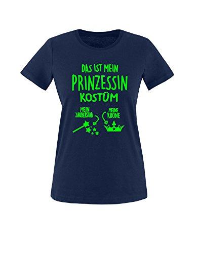 Luckja Das ist mein Prinzessin Kostüm Damen Rundhals T-Shirt Navy/Neongrün