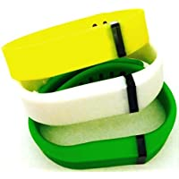 Comparador de precios ! Large L 1pc White 1pc Green 1pc Yellow Replacement Bands + 1pc Free Large Grey Band With Clasp for Fitbit FLEX Only /No tracker/ Wireless Activity Bracelet Sport Wristband Fit Bit Flex Bracelet Sport Arm Band Armband by Pl - precios baratos