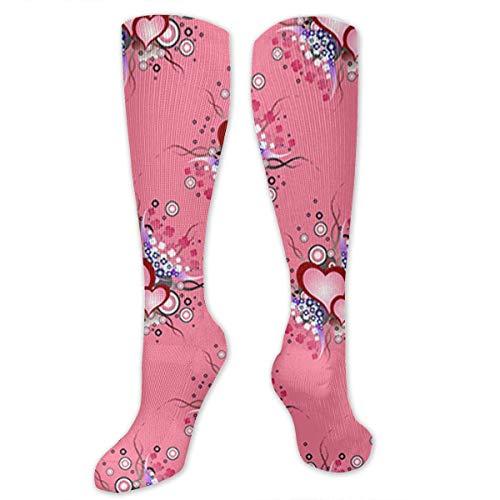 Jxrodekz Knee High Socks Pattern Set of Grunge Hearts Knee High Compression Stockings Athletic Socks Personalized Gift Socks for Men Women Teens Girls