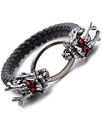 "K Mega Jewelry 12mm Black Pu Leather Dragon Crystal Wristband Mens Bracelet 8.1"" B532"