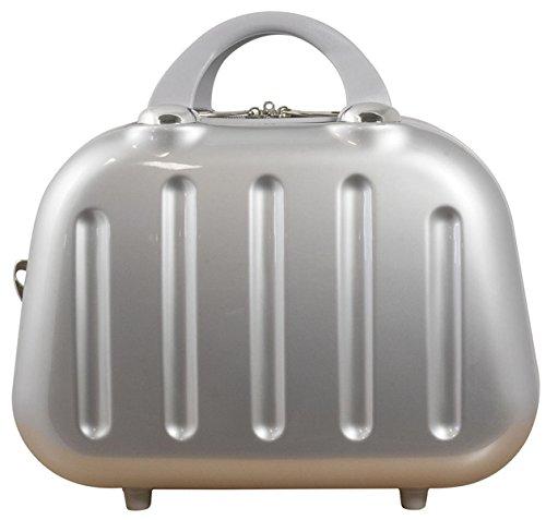 Polycarbonat Hartschalen Koffer Reisekoffer Handgepäck Boardcase Beautycase in einheitlicher Farbgestaltung - Nepal Beautycase (Silber)