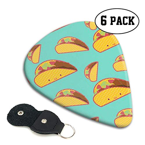 Taco Pattern Celluloid Guitar Picks Premium Picks 6 Pack for Guitar,Mandolin,and Bass 0.46mm, 0.71mm, 0.96mm Optional with PU Leather Pick Holder(0.46mm)