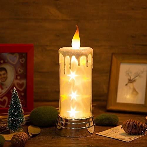 Fernbedienung Kerze Meteor Licht Sternenhimmel Geburtstag Kerze Nachtlicht Nach Hause Aufladen@Gelb Leuchtende Batterie (Geruchlos Flammenlose Kerzen)