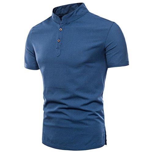 Yumm t-shirt da uomo,sottile casual solido manica corta top taglia larga shirt camicia polo camicetta camicie e maglietta sportive moda summer giacca da uomo (blu, 2xl)