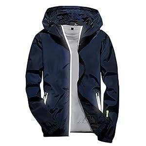 EUZeo Herren Einfarbig Sporlich Reißverschluss Jacke Hoodies Sweatshirts Funktionsjacke Windjacke Kapuzenjacke Outdoor Mode Kapuzensweatshirts Outwear Übergroß