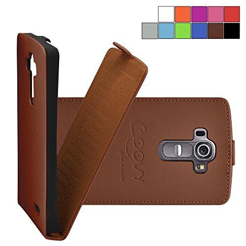 Coovy® custodia per lg g4 h815 (5,5 zoll) slim flip cover case della copertura di vibrazione protezione, pellicola protettiva per schermo | colore marrone