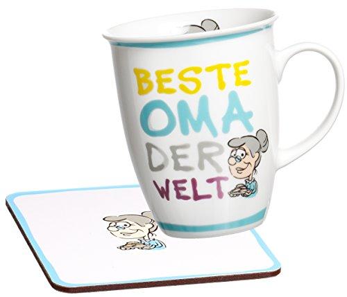 Ritzenhoff & Breker Kaffeebecher Beste Oma der Welt mit Untersetzer im Geschenkkarton, Geschenk-Set, 2-teilig