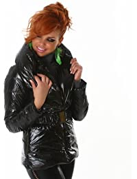 Stylish short wet look quilted coat black (WS-830A)