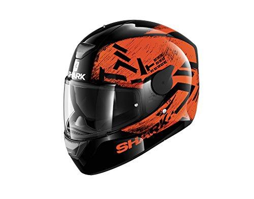 Shark Motorradhelm Hark D-Skwal Hiwo, Schwarz/Orange, Größe M