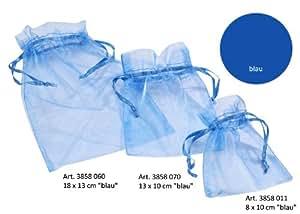 Sachets organza 8x10cm Bleu par 12