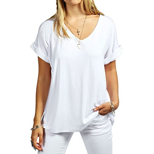 Womens Oversize Fit V Neck Top Ladies Baggy Plus Size Batwing Casual T Shirt sizes 8-24 (V-neck-shirt Plus Womens)