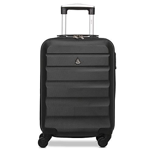 TROLLEY - Aerolite in ABS con guscio rigido e quattro comode ruote con lucchetto TSA. Bagaglio a mano perfetto per salire a bordo cabina fornito di lucchetto TSA con combinazione a 3 cifre (Nero)