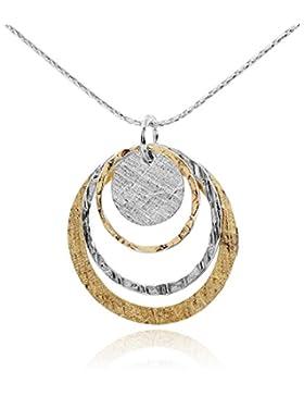 Zwei Ton Abgestufte Kreise Anhänger 14K Gold gefüllt und 925Sterling Silber Halskette, 45,7cm