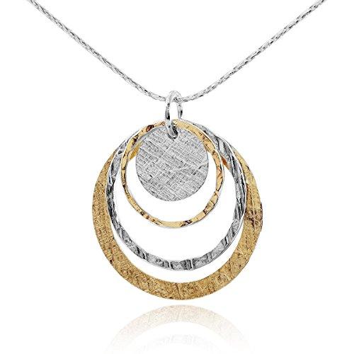 Stera Jewelry Halskette mit Anhänger, zweifarbige Kreise, 14kt Gold gefüllt und 925erSterling-Silber, 45,7cm (Gold Gefüllt Kette)