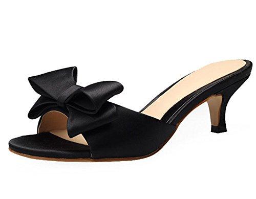 Dayiss Elegant Damen Schleife Sommerschuhe High Heels Sandalen & Pantoletten mit Absatz Schwarz