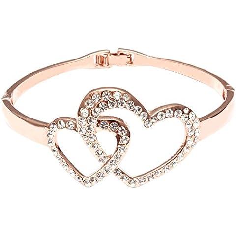 City Ouna® Elementos de Swarovski 18k oro rosa doble amor abierta sobre plata esterlina creado tubo blanco cristal pulsera para