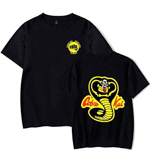 SIMYJOY Cobra Kai T-Shirts Abenteuer Action TV Drama Shirts Karate Kid Top Jungen Tops für Herren Mädchen und Damen schwarzes S (Kid Karate Cobra Kai T-shirt)