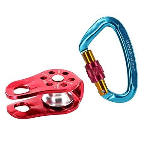 Gazechimp Sicherheitsgerät: Schraubensicherung Karabiner + Seilrolle Set für Klettern Abseilen Bergsteigen