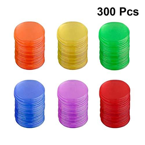 Toyvian Gettoni di plastica Colore conteggio Chip Gioco da Tavolo Gioco Pezzi colorato Monete Giocattoli 300 pz