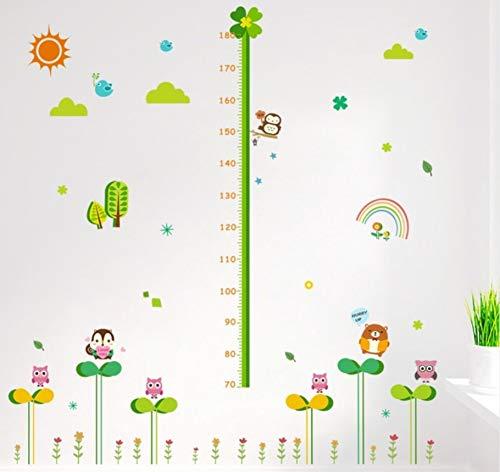 Plante verte bébé hauteur mesure stickers muraux dessin animé animal hibou arc-en-ciel enfants chambre décoration bricolage grandir tableau mural 30x90cmx2