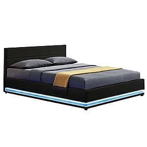ArtLife Polsterbett Toulouse 140 x 200 cm mit rundum LED und Bettkasten - schwarz