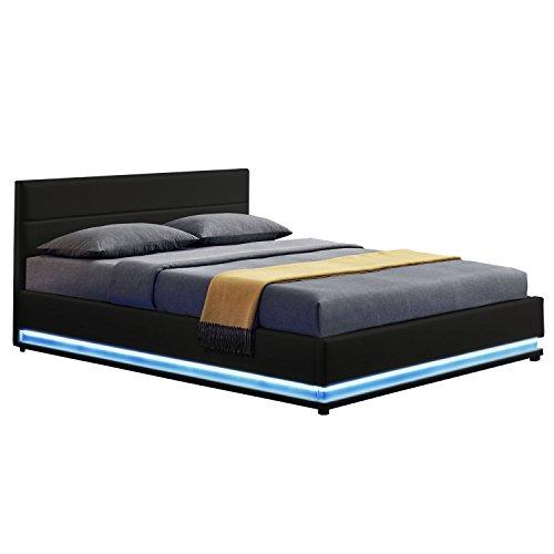 ArtLife LED Polsterbett Toulouse 140 × 200 cm mit Bettkasten & Lattenrost - Kunstleder Bezug & Holz Gestell - schwarz - Bettgestell Einzelbett