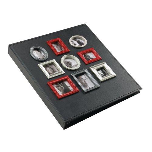 Umbra 308001-040 Vintage Lederimitat Fotoalbum mit 9 Mini Fotorahmen für 260 Fotos 10 x 15 cm und 33 x 34 cm schwarz - Umbra-foto-album