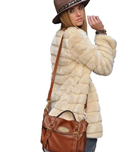 Yilianda 2017 moda corto giacca pelliccia sintetica donna cappotto invernale beige l