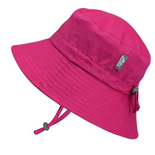 t Baby Mädchen Baumwolle Fischerhut Sonnenhut 50 LSF Schutz, Größenverstellbar Passgenau, (S: 0-6 Monate, Hot Pink) ()