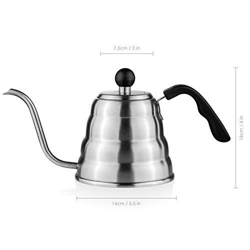 Aicok Teekessel Kaffeekessel Für Herd Wasserkessel aus Edelstahl Teekessel Kaffeekanne Teekanne 1.2L Kessel Mit Schwanenhals