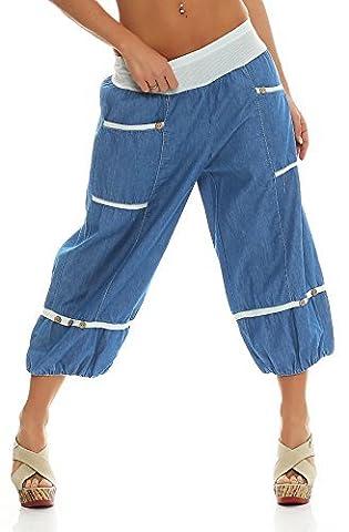 ZARMEXX Damen Haremshose Pumphose Aladinhose Sporthose Yoga Baumwolle Jeanshose One Size zwei Varianten (Einheitsgröße: Gr. 38-46,