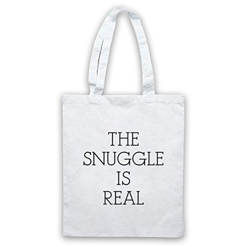 The Snuggle Is Real Cute Parody Slogan Umhangetaschen Weis