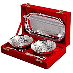 Choice Yourself Silver Plated Brass Bowl With Tray Set Of 5 Pieces