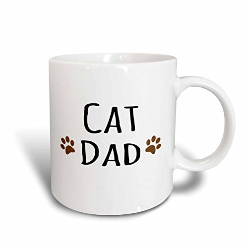 Mensuk Cat dad text in black with two paw prints - for male pet owners and kitty lovers - Two Tone Black Mug, 11oz (mug_153843_4), , Black/White -