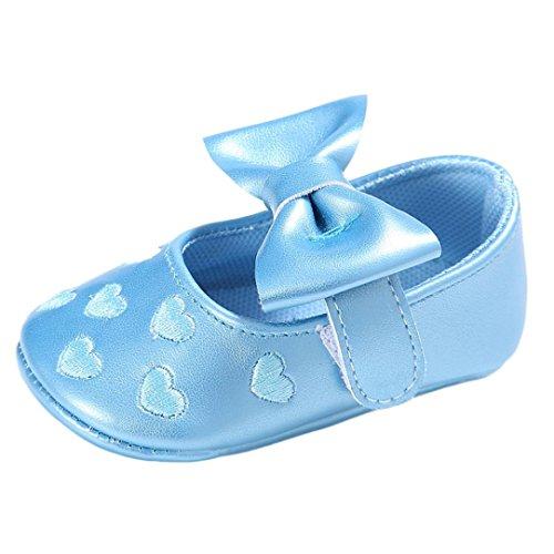 Moda Kingko® Sapatos Princesa Sapatos De Bebê Bowknot Baby Girl Couro Sneaker Anti-derrapante Criança Sola Macia (0 A 18 Meses) Azul