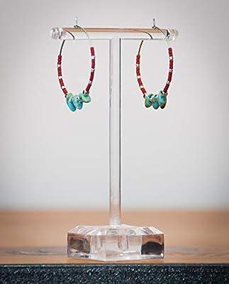Créole perle japonaise miyuki, rouge vert moucheté, anneau acier inoxydable argent