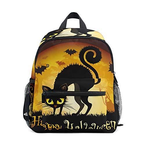 Daypack Halloween schwarz Katze Fledermaus auf Mond Rücken Vorschule Kindergarten Kleinkind Tasche für Reisen Mädchen Jungen ()