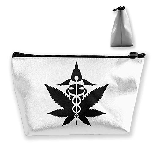 Pochette de toilette trapézoïdale Portable Travel Bag Marijuana Zipper Wallet -