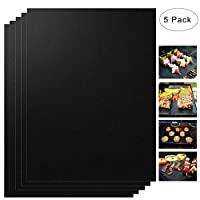 """Non-stick Reusable Oven Liners for The Bottom of Gas-500F-Electric & Microwave Ovens- Easy to Clean - PTFE Teflon Fiber,works as Grill Mats BBQ Baking Mats (6 pack) Set of 5 (13"""" x 15.75""""),Black Black"""