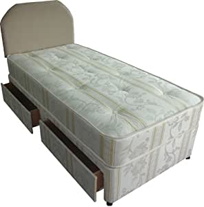 Divan bed luxury 3ft single including mattress and 2 for Single divan with drawers and headboard