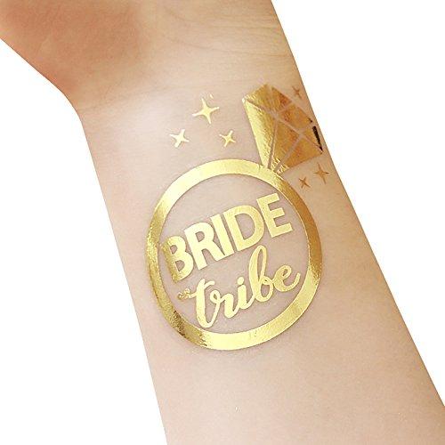 Tatuaggi temporanei, tribù del bachelorette e della sposa tatuaggi temporanei, 12-pack sposa e sposa da squadra, forniture per party e accessori favori (t10, t11)