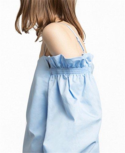 Sexy Schulterfrei Kalte Schulter Freien Offenen Schultern Rüschensaum Langarm Ballon-Ärmel Bluse Hemd Shirt Oberteil Top Blau