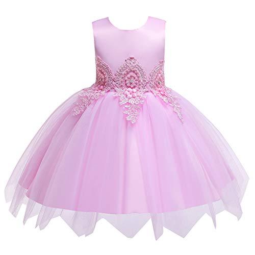 LEXUPE Kind Mädchen ärmellose Blumen bestickte Tüll Prinzessin Prom Kleid Kleidung(Rosa,140)