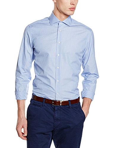 hackett-clothing-end-on-end-single-cuff-chemise-business-homme-bleu-blue-165uk