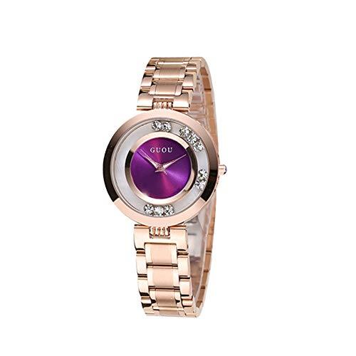 Hswt Armbanduhren Damen Damenuhr Mode Damen Quarzuhr Rollen Strass Persönliches Zifferblatt Edelstahl Wasserdicht Zubehör ansehen Mode zu sehen,Purple