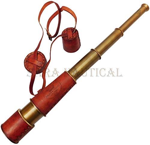 Sara Nautical 45,7cm Vintage Leder Teleskop Kelvin & Hughes London Marine Spyglass Antik -