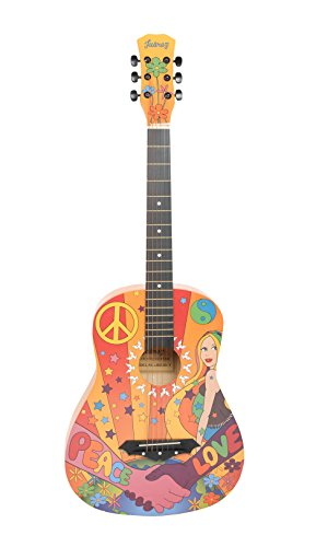 Juârez Acoustic Guitar, 38 Inch Cutaway, JRZ38CT, Hippie Funky Design, with Bag, Picks, Strap & Extra String set
