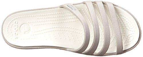 Crocs Rhonda, Sandales compensées - Femme Gris (Platinum/Oyster)