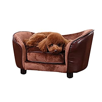 Pawhut Luxury Pet Sofa Dog Bed Chair Puppy Cat Kitten Soft Mat Home Indoor Couch House w/Cushion Coffee by Sold by MHSTAR